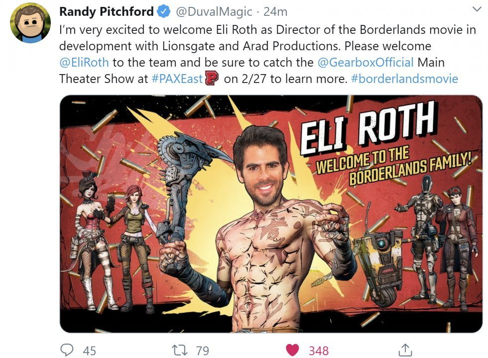 Eli Roth bekræftet som instruktør til Borderlands the Movie